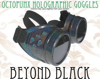 Octopunx Beyond Black Holographic Limited Edition Hand Painted Mix and Match Steampunk Goggles Your Choice of Lenses