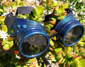 Octopunx Peacock Blue Holographic Hand Painted Mix and Match Steampunk Goggles Your Choice of Lenses