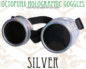 Octopunx Silver Holographic Limited Edition Hand Painted Mix and Match Steampunk Goggles Your Choice of Lenses