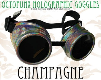 Octopunx Champagne Holographic Limited Edition Hand Painted Mix and Match Steampunk Goggles Your Choice of Lenses