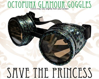 Octopunx Save the Princess Glitter Blue Green Limited Edition Hand Painted Mix and Match Steampunk Goggles Your Choice of Lenses
