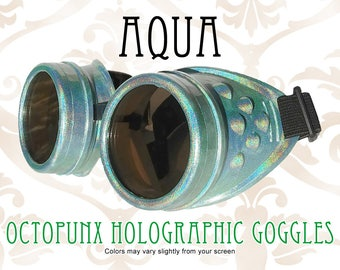 Octopunx Aqua Holographic Limited Edition Hand Painted Mix and Match Steampunk Goggles Your Choice of Lenses