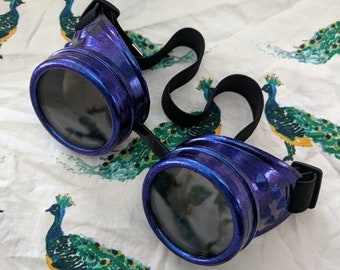 Goggles Butterfly Wings Chameleon Blue-Purple Shimmer Hand Painted Steampunk 50mm - Your Choice of Lenses