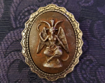 Brooch Baphomet Cameo Scales Large Oval Rusty Iron Color - Hand Painted 30x40mm Acrylic and Silver Plated Zinc Alloy