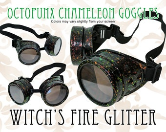 Octopunx Witch's Fire Glitter Chameleon Red to Green Limited Edition Hand Painted Mix and Match Steampunk Goggles Your Choice of Lenses