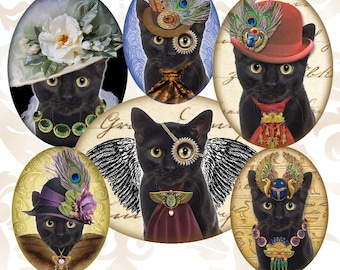 Octopunx Black Cat Oval 30x40mm 22x30mm 18x25mm Digital Collage Sheet 18 Designs