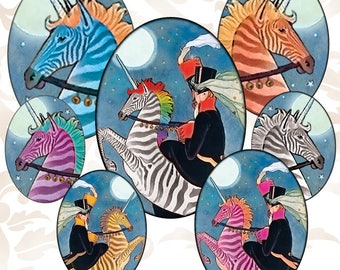 Octopunx Rainbow Zebra Unicorns Oval 30x40mm 22x30mm 18x25mm Digital Collage Sheets