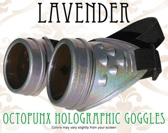 Octopunx Pale Lavender Holographic Limited Edition Hand Painted Mix and Match Steampunk Goggles Your Choice of Lenses