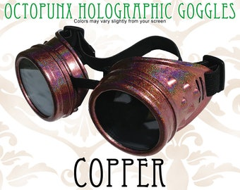 Octopunx Copper Holographic Limited Edition Hand Painted Mix and Match Steampunk Goggles Your Choice of Lenses