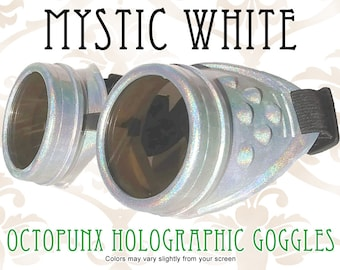 Octopunx Mystic White Holographic Limited Edition Hand Painted Mix and Match Steampunk Goggles Your Choice of Lenses
