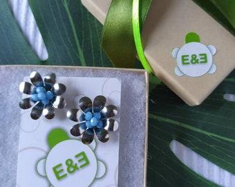 Blue Margarita flower earrings. Handmade. hoop earrings Everyday earrings. Christmas Gift for her