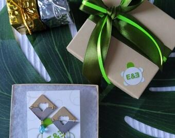 Cube inner heart earrings. Hand made. Handmade. Hoop earrings. Everyday earrings. Christmas Gift for her