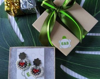 Flower Silver plated bronce Earrings. Handmade earrings. hoop earrings Everyday earrings. Christmas Gift for her