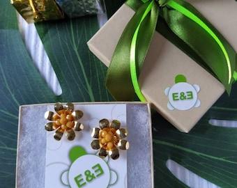 Yellow Margarita flower earrings. Handmade. hoop earrings Everyday earrings. Christmas Gift for her