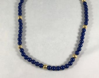Trifari Blue Gold Beaded Necklace, Vintage Necklace, Blue Necklace, Beaded Necklace, Trifari Necklace