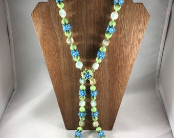 Green Blue White Beaded Necklace Floral Pendant Two (2) Strand, Vintage Necklace, Beaded Necklace