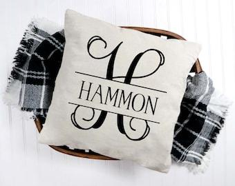 Monogram Pillow Split vine with name Includes pillow!