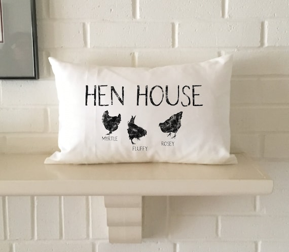 Hen House Pillow Personalized With Chicken Names Etsy