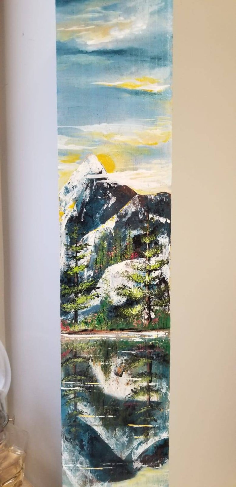 Handpainted Wood Plank Board Art Original Wall Art Decor Painting