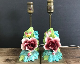 Vintage lamps china floral lamps large colorful flower matching table lamps vintage table lamps porcelain red blue and green flower lamp set