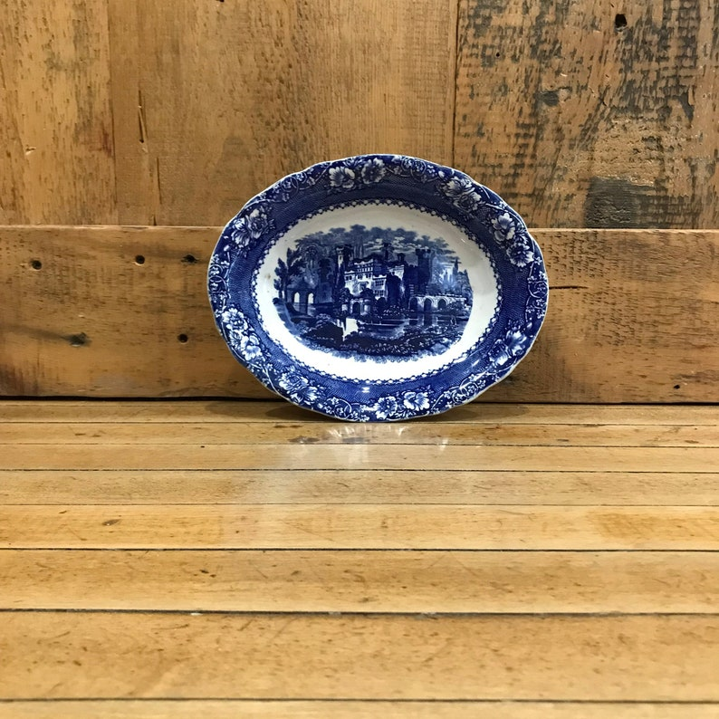 vintage blue bowl blue and white tableware made in England Alhambra oval blue and white serving bowl blue kitchen wall decor decorative bowl