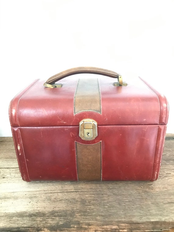 vintage train case leather travel case hard red tr