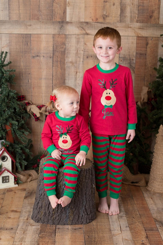 e1c3afe4a4 Christmas Personalized Boy or Girl Reindeer Red   Green Pajama