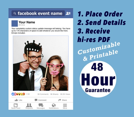 Facebook Style Photo Booth Frame For Graduation Parties Etsy