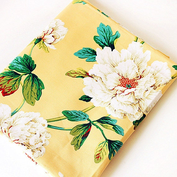 Cotton Linen Peony Chinese Flower Fabric for Bag Clothes Dress Blouse Vintage