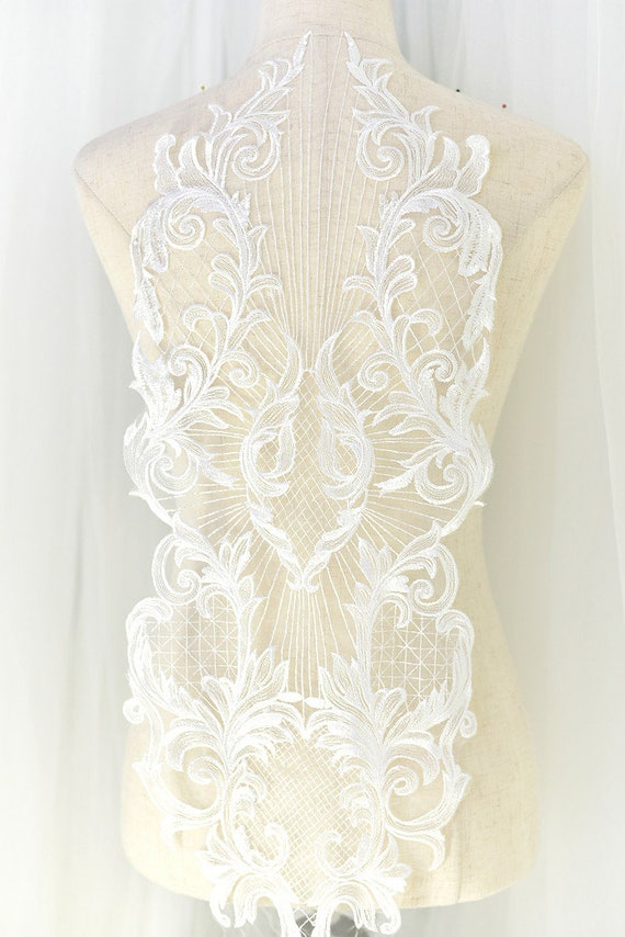 46cm Long Off White Lace Fabric Sew On Applique Flower  Leaf H352