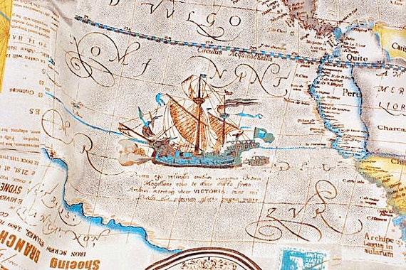 World map linen cotton fabric vintage voyage navigation sailing boat world map linen cotton fabric vintage voyage navigation sailing boat compass clock ocean collection 12 yard f014 from gideonstudio on etsy studio gumiabroncs Gallery