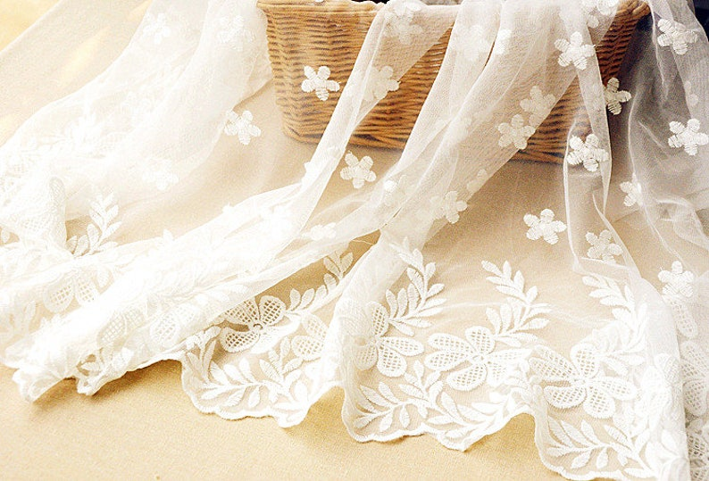 12 yard White Floral Lace Fabric Embroidery White Lace Flower Netting Tulle Wedding Bridal Lace For Cloth Dress Gauze L113