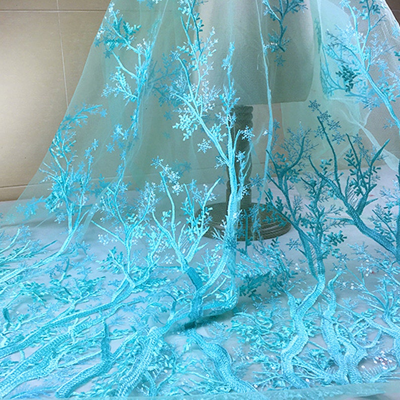 Snowflake Lace Fabric Blue Purple White Snow Trees Lace Flower Sequins Embroidered Lace Wedding Bridal Lace Fabric Dress Gauze Tulle L236a