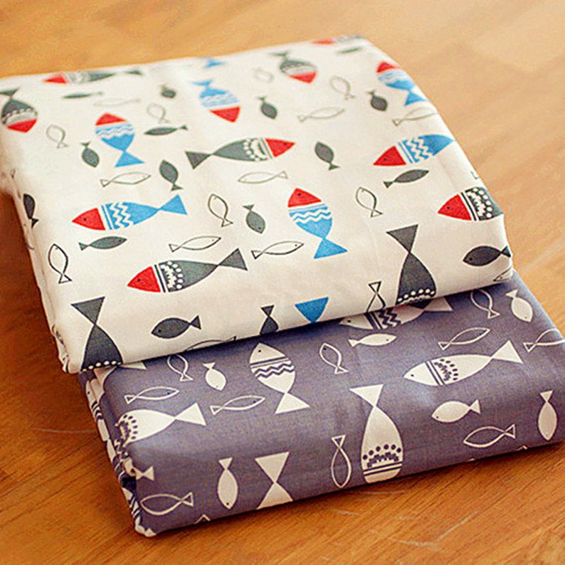 New Small Fishes Pure Cotton Fabric Fishes on White Grey image 0