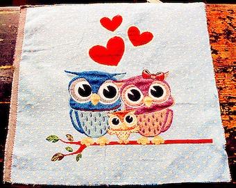 "Owl Fabric Linen Cotton Fabric Owls Lover Family Fabric Pillow Cushion Bag Panel Fabric,One Panel 19""x 19"" (50cm X 50cm) h67"