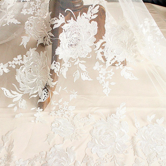Off White Floral Tulle Fabric Mint Green Embroidery Lace Fabric Summer Dress Rosette Lace Fabric For Illusion Gowns