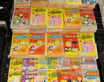 Group lot of 10 original vintage Richie Rich Dennis the Menace ARCHIE and others 35 cent Comics Great shape old stock fun 1970S-80S