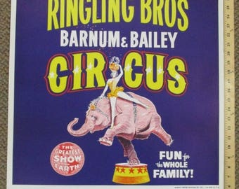 Vtg 1950s Ringling Brothers Barnum Bailey Circus Poster Blue Elephant 28.5x22.5 1958 Program cover art