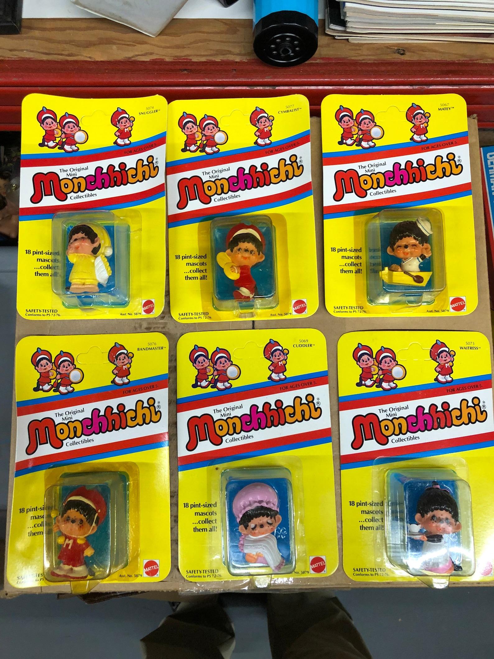 Mattel Monchhichi mini figures old stock unused vintage 80s