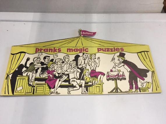 SS Adams Magic show pranks magic puzzles store display sign nm+