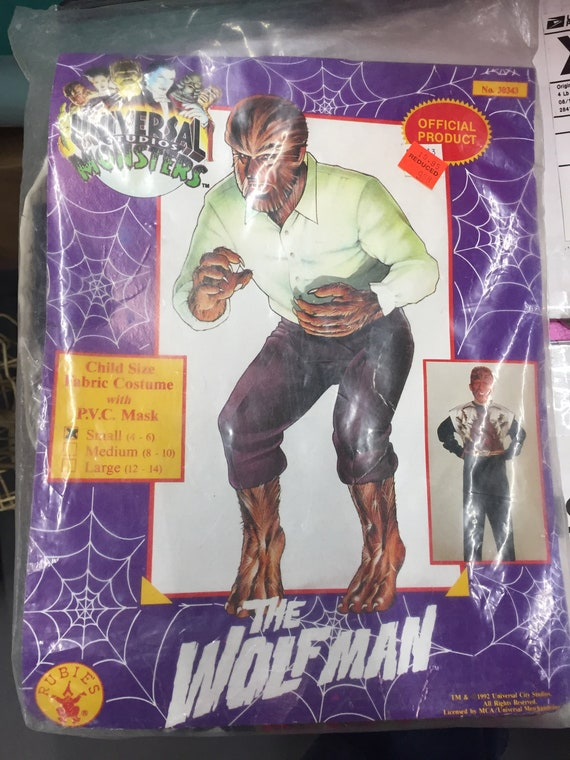 Universal Monsters Wolfman Halloween Mask Costume Rubies Nos Etsy