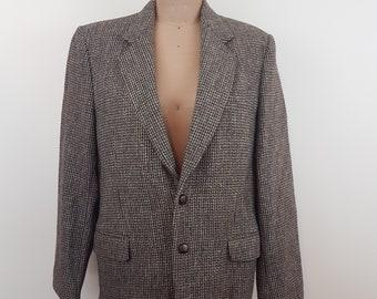 Superb Men's Vintage Brown Harris Tweed Tailored Retro Hacking Blazer Jacket 40