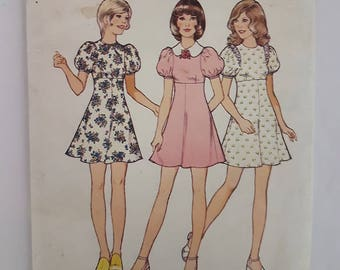 """Style 4210 70's Mini Dress Vintage Womens Sewing Pattern Sizes 13/14 Bust 331/2"""""""