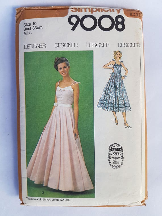 70496b5971b 70s Vintage Summer Dress Sewing Pattern Simplicity 9008 Size