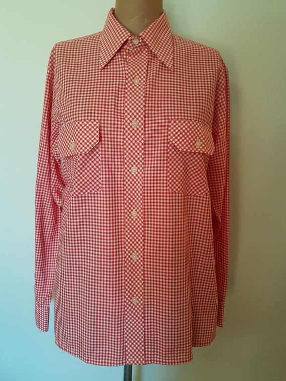 70s Vintage Mens Casual Shirt//Fletcher Jones Ging