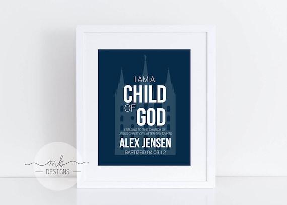 Niño bautismo LDS personalizado nombre signo impresión Mormón