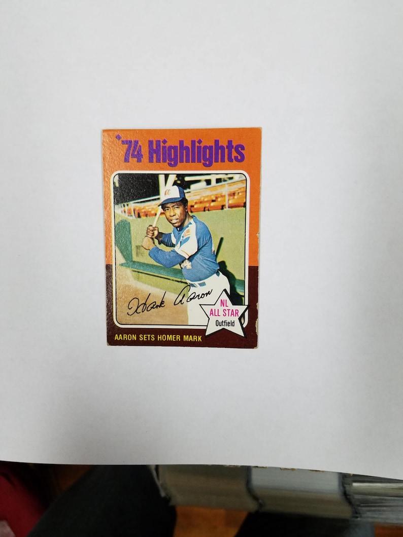 1975 Topps Baseball 1 Hank Aaron Hl Hank Aaron Sets Homer Mark Super Hot Card