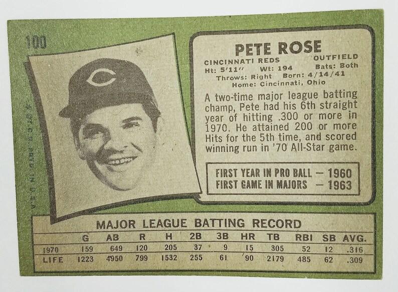 1971 topps #100 PETE ROSE cincinnati reds BGS BCCG 8 Graded Card