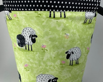 Sheep Drawstring Pouch with Wrist Strap. Small Sock Size Knitting or Crochet Project Bag