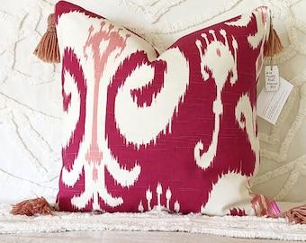 pink Ikat pillow, pink ikat cushion, Ikat pillow, pink cushion with tassels, ikat cushion, pink and white pillow, blush tones, boho decor
